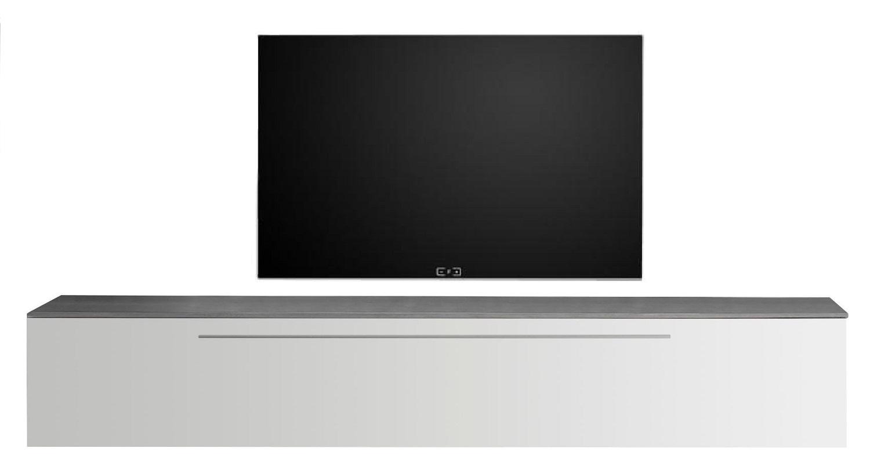 Zwevend Tv-meubel Tesla 210 cm breed in hoogglans wit met grijs beton