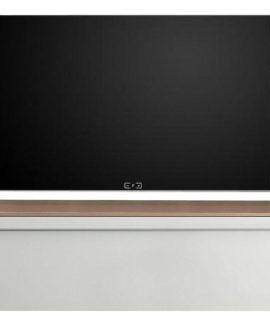 Zwevend Tv-meubel Tesla 210 Cm Breed In Hoogglans Wit Met Stelvio Walnoot