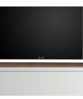 Zwevend Tv-meubel Tesla 210 Cm Breed In Hoogglans Wit Met Walnoot